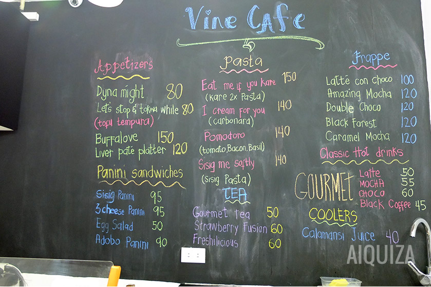 Vine Cafe Menu